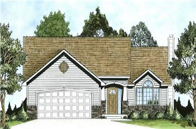 3-Bedroom, 1367 Sq Ft Ranch Home Plan - 103-1055 - Main Exterior