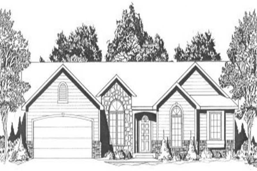 3-Bedroom, 1359 Sq Ft Ranch Home Plan - 103-1057 - Main Exterior