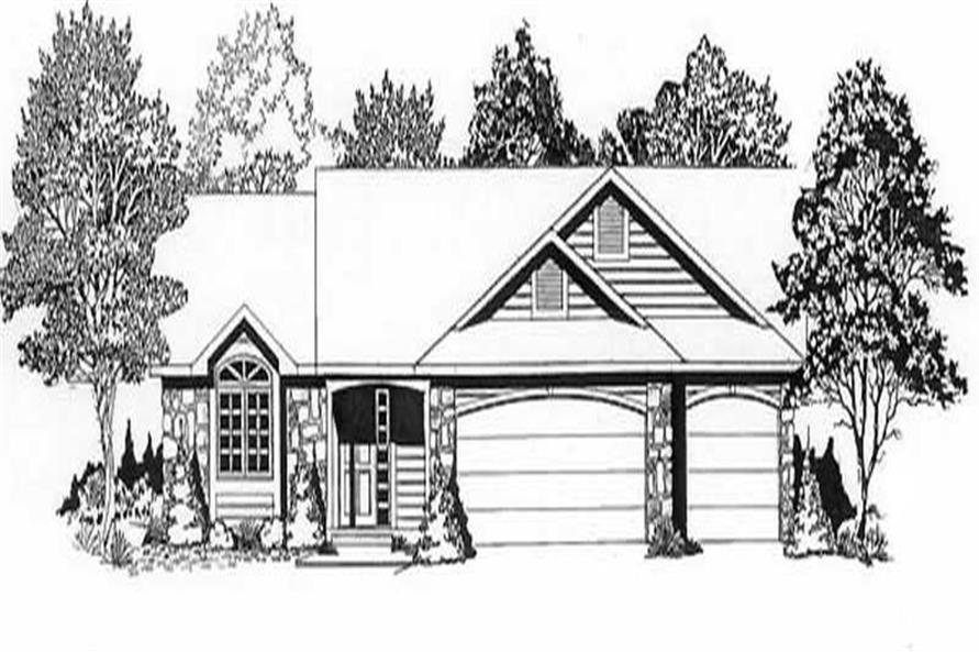 3-Bedroom, 1427 Sq Ft Ranch Home Plan - 103-1059 - Main Exterior