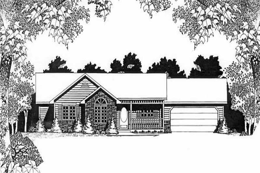 3-Bedroom, 1267 Sq Ft Ranch House Plan - 103-1061 - Front Exterior
