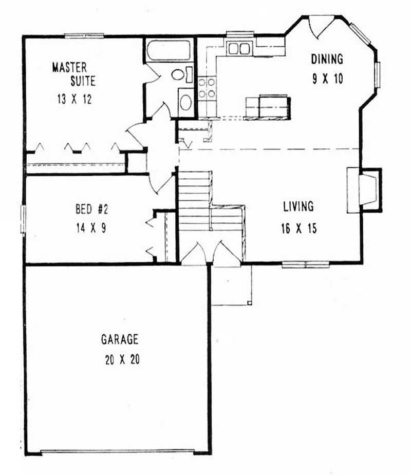 Multi level home with 2 bdrms 900 sq ft floor plan 103 for Multi level floor plans