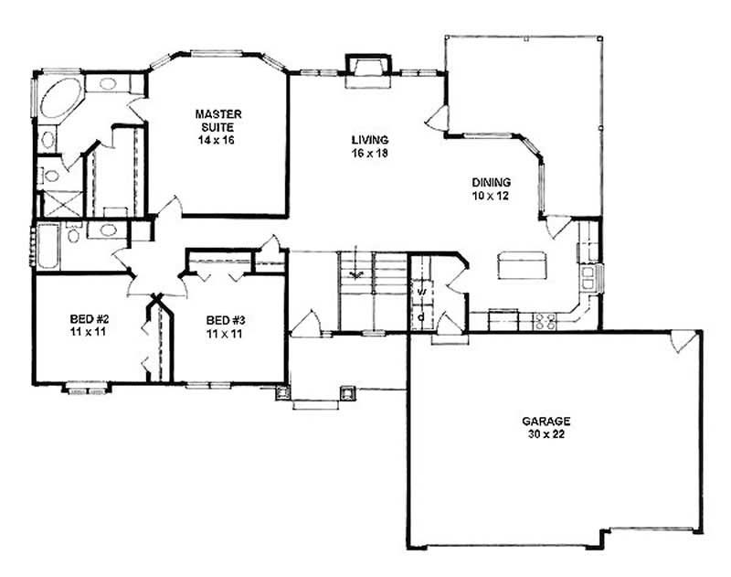 Ranch home with 3 bdrms 1540 sq ft house plan 103 1066 - How much paint for 1800 sq ft exterior ...