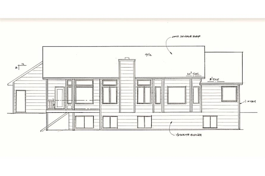 Home Plan Rear Elevation of this 3-Bedroom,1540 Sq Ft Plan -103-1066