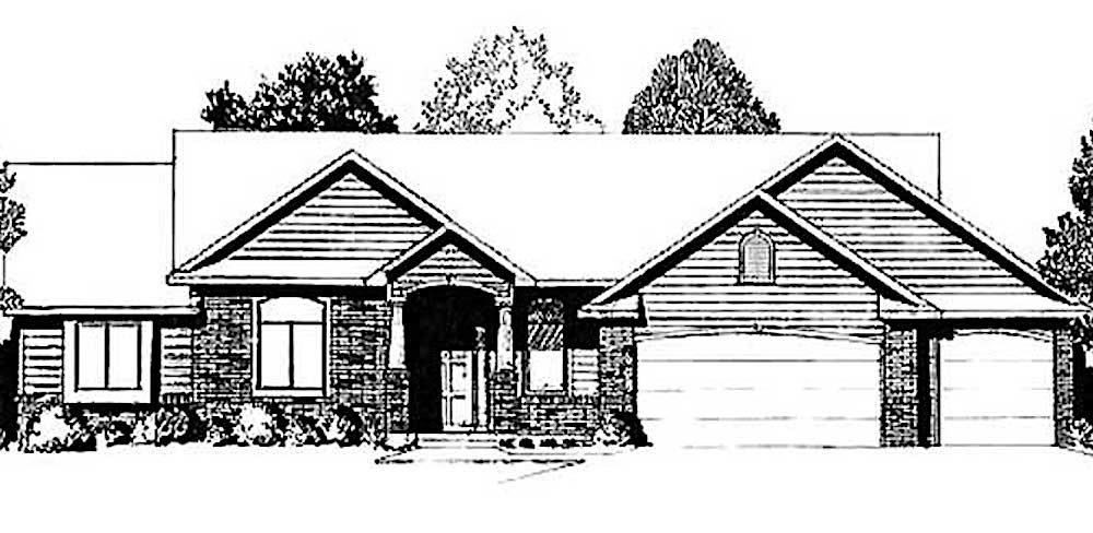Ranch style home (ThePlanCollection: House Plan #103-1066)