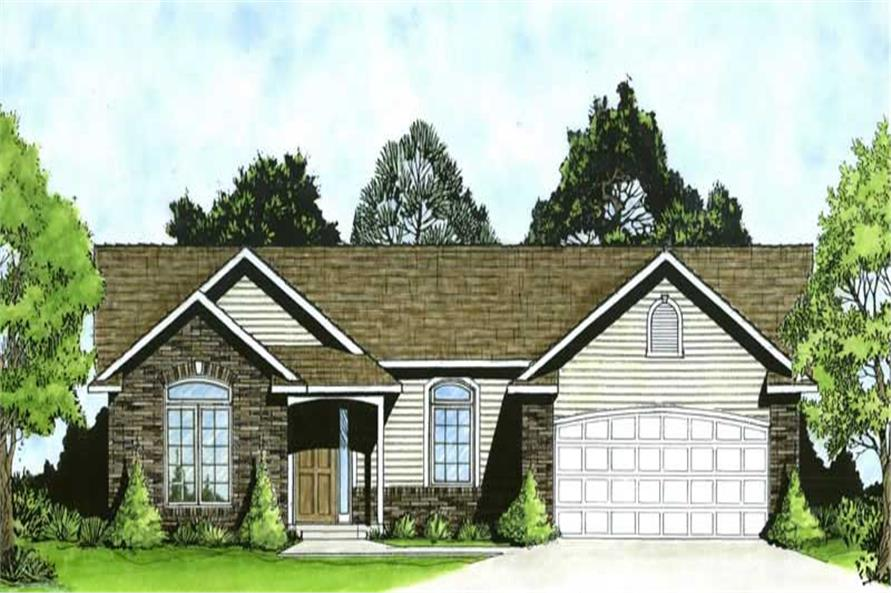 3-Bedroom, 1218 Sq Ft Ranch Home Plan - 103-1069 - Main Exterior
