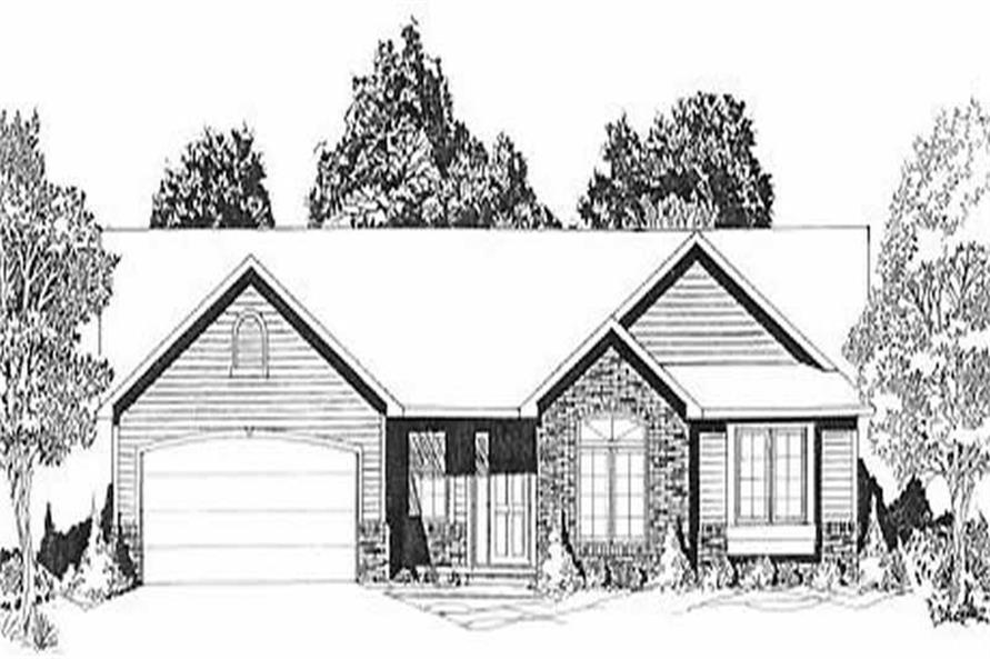 3-Bedroom, 1221 Sq Ft Ranch Home Plan - 103-1070 - Main Exterior