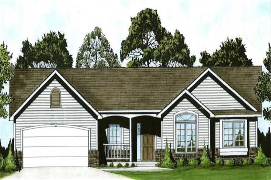 3-Bedroom, 1420 Sq Ft Ranch House Plan - 103-1075 - Front Exterior