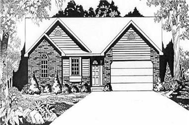 3-Bedroom, 1242 Sq Ft Ranch House Plan - 103-1076 - Front Exterior