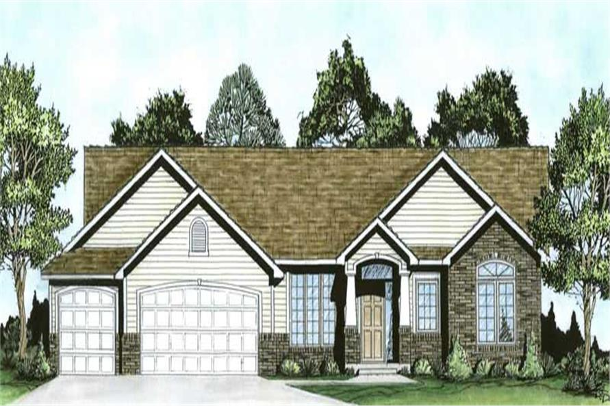 3-Bedroom, 1764 Sq Ft Ranch House Plan - 103-1077 - Front Exterior