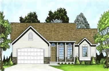 3-Bedroom, 1245 Sq Ft Ranch House Plan - 103-1078 - Front Exterior
