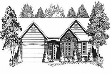 3-Bedroom, 1264 Sq Ft Ranch Home Plan - 103-1080 - Main Exterior