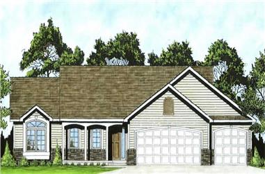 3-Bedroom, 1275 Sq Ft Ranch Home Plan - 103-1082 - Main Exterior