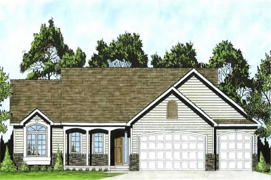 3-Bedroom, 1275 Sq Ft Ranch Home Plan - 103-1082 - Main Exterior