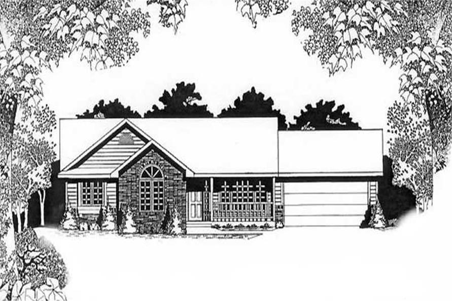 3-Bedroom, 1240 Sq Ft Ranch Home Plan - 103-1086 - Main Exterior