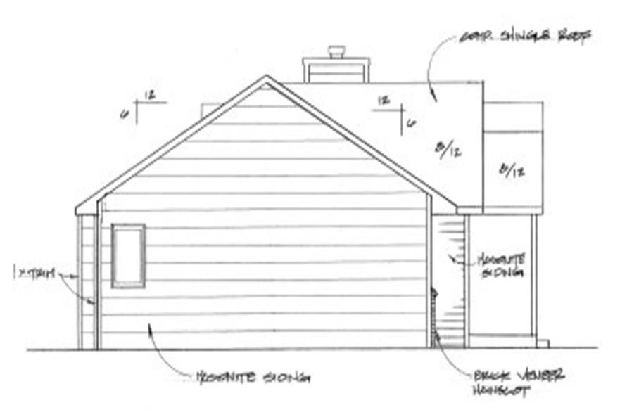 Home Plan Left Elevation of this 2-Bedroom,982 Sq Ft Plan -103-1087