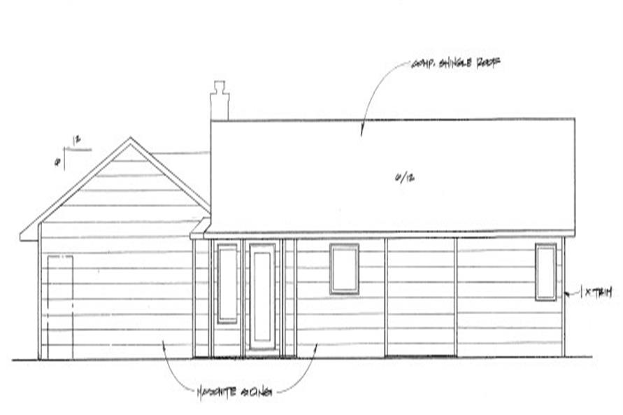 Home Plan Rear Elevation of this 2-Bedroom,982 Sq Ft Plan -103-1087