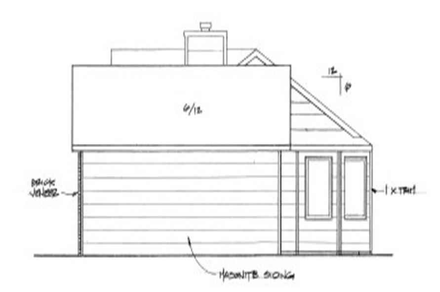 Home Plan Right Elevation of this 2-Bedroom,982 Sq Ft Plan -103-1087