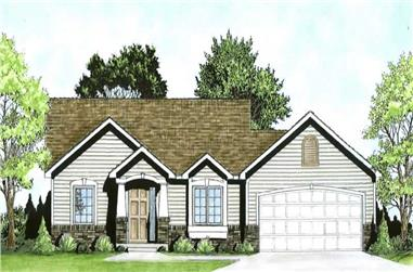 2-Bedroom, 932 Sq Ft Ranch Home Plan - 103-1088 - Main Exterior