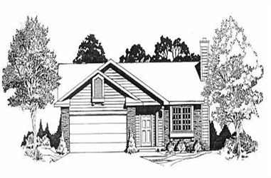2-Bedroom, 978 Sq Ft Ranch House Plan - 103-1090 - Front Exterior