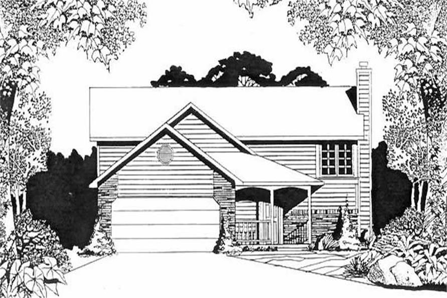2-Bedroom, 1000 Sq Ft Multi-Level House Plan - 103-1091 - Front Exterior