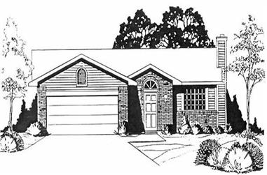 3-Bedroom, 1024 Sq Ft Ranch House Plan - 103-1092 - Front Exterior