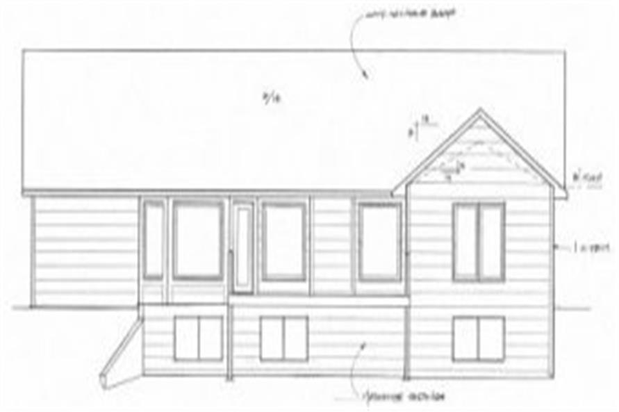Home Plan Rear Elevation of this 3-Bedroom,1645 Sq Ft Plan -103-1096