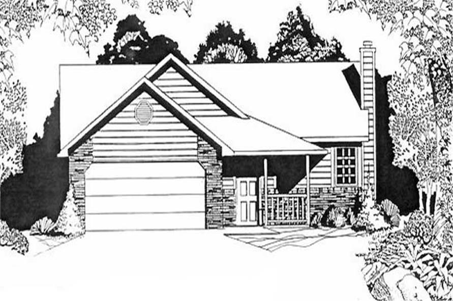 2-Bedroom, 1041 Sq Ft Ranch House Plan - 103-1097 - Front Exterior
