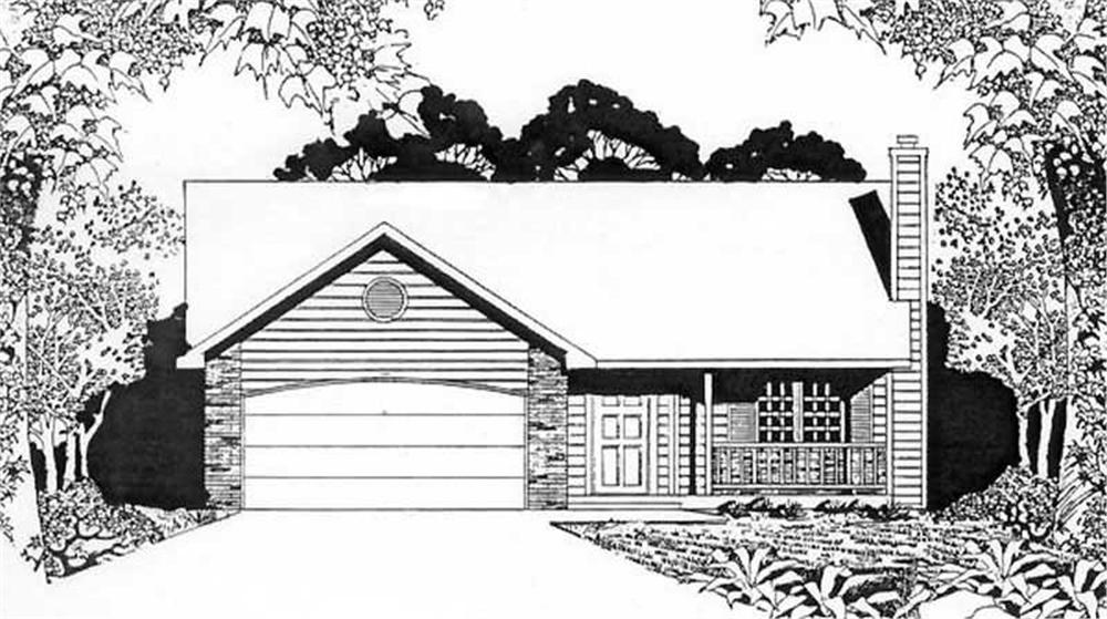 Front elevation of Ranch home (ThePlanCollection: House Plan #103-1098)