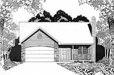 2-Bedroom, 1075 Sq Ft Ranch House Plan - 103-1098 - Front Exterior