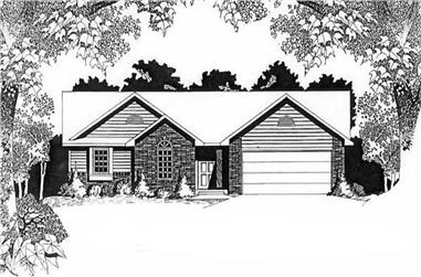 2-Bedroom, 1200 Sq Ft Ranch Home Plan - 103-1099 - Main Exterior