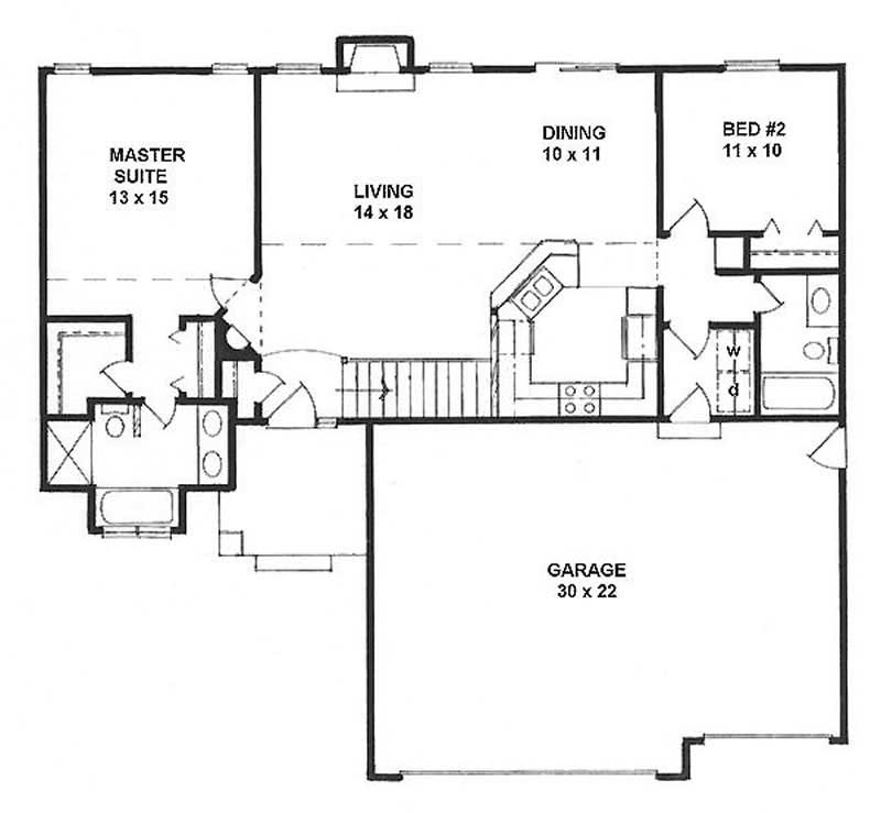 Ranch Home With 2 Bdrms 1164 Sq Ft House Plan 103 1100