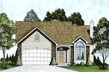 2-Bedroom, 1103 Sq Ft Ranch House Plan - 103-1101 - Front Exterior