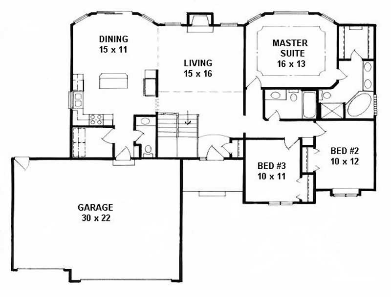 Ranch Home With 3 Bdrms 1508 Sq Ft House Plan 103 1104