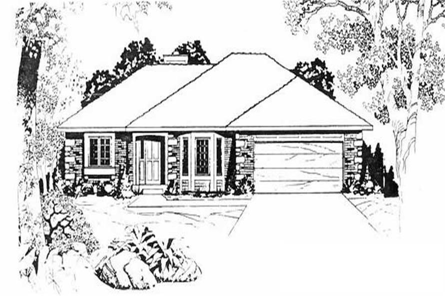 3-Bedroom, 1462 Sq Ft Ranch Home Plan - 103-1105 - Main Exterior