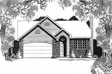 3-Bedroom, 1159 Sq Ft Ranch Home Plan - 103-1107 - Main Exterior