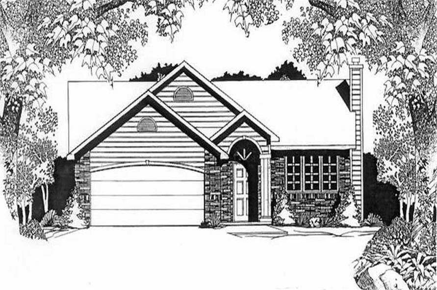3-Bedroom, 1159 Sq Ft Ranch Home Plan - 103-1107 - Main Exterior