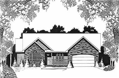 2-Bedroom, 1525 Sq Ft Ranch Home Plan - 103-1110 - Main Exterior
