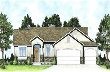 3-Bedroom, 1224 Sq Ft Transitional House - Plan #103-1123 - Front Exterior
