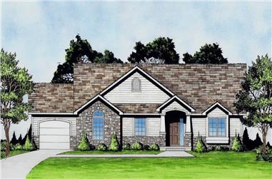 2-Bedroom, 1392 Sq Ft Craftsman Ranch House - Plan #103-1135 - Front Exterior