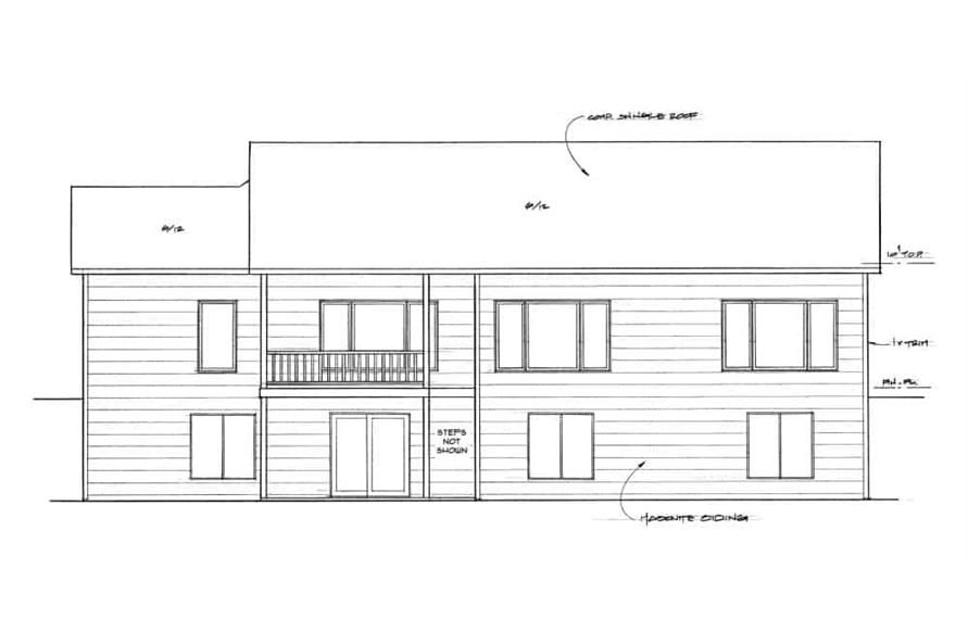 Home Plan Rear Elevation of this 3-Bedroom,1650 Sq Ft Plan -103-1161