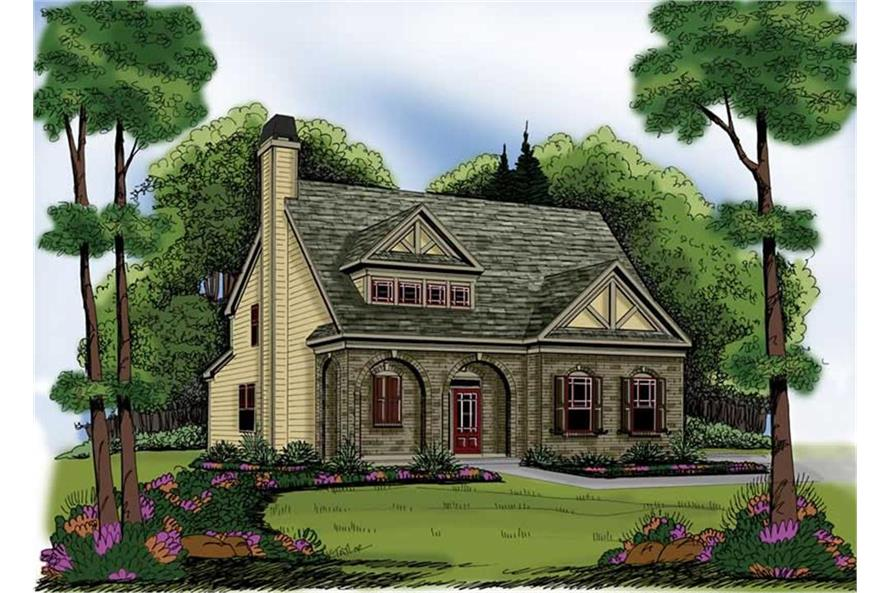 104-1000: Home Plan Rendering-Front View
