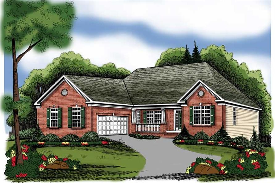 4-Bedroom, 2141 Sq Ft European House Plan - 104-1001 - Front Exterior