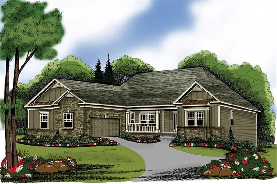4-Bedroom, 2149 Sq Ft Bungalow Home Plan - 104-1003 - Main Exterior