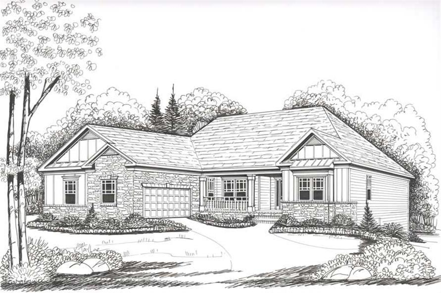 Front Elevation of this 4-Bedroom,2149 Sq Ft Plan -2149