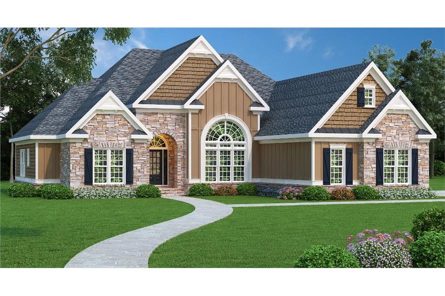 4-Bedroom, 2406 Sq Ft Country House Plan - 104-1004 - Front Exterior