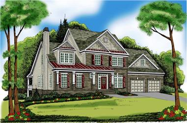 4-Bedroom, 2854 Sq Ft Colonial House Plan - 104-1006 - Front Exterior