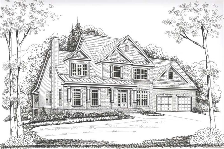 Front Elevation of this 4-Bedroom,2854 Sq Ft Plan -2854