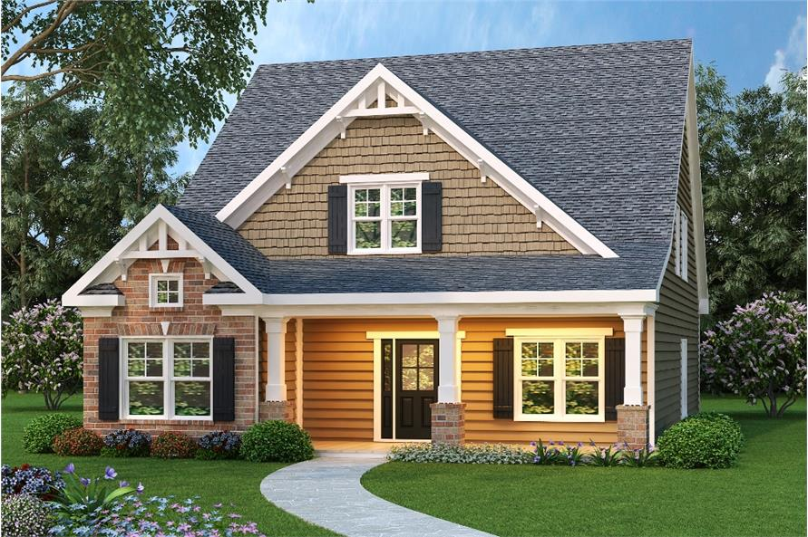 Main image for Craftsman style home plan (ThePlanCollection: House Plan #104-1008)