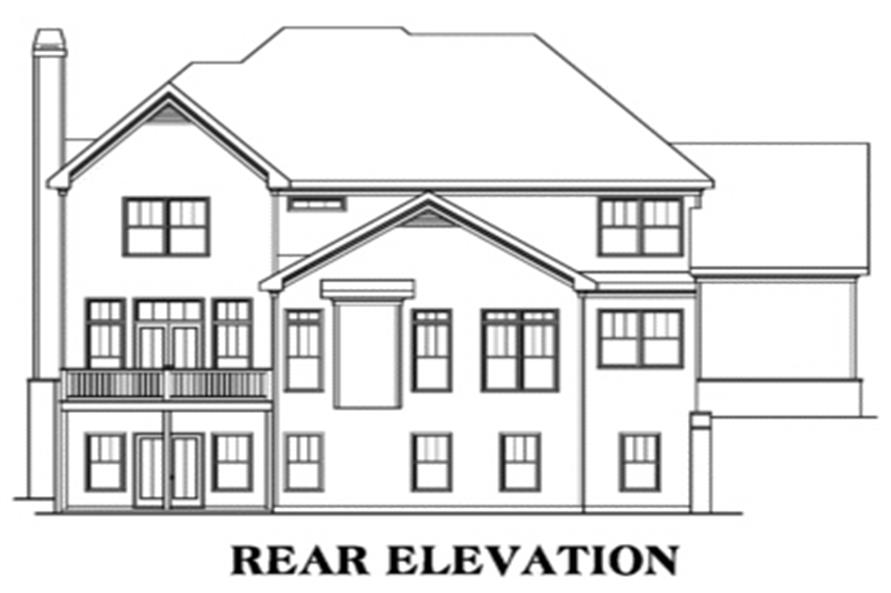 Home Plan Rear Elevation of this 5-Bedroom,3191 Sq Ft Plan -104-1011