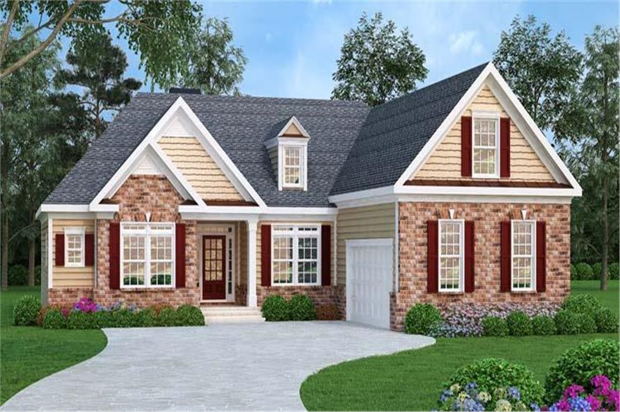 3-Bedroom, 1732 Sq Ft Ranch Home Plan - 104-1013 - Main Exterior